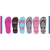 Wholesale Footwear LADIES STRIPE & POLKA DOT BASIC FLIP FLOPS