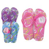 Wholesale Footwear Woman's Heart Printed Flip Flops