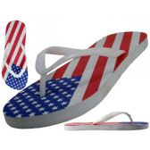 Wholesale Footwear Women's US Flag Printed Fip Flops