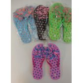 Wholesale Footwear Ladies Polka Dot Flip Flops with Large Ruffled Flower