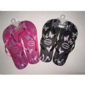 Wholesale Footwear Ladies Butterfly Printed Flip Flops (assorted Colors)