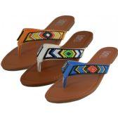 Wholesale Footwear Women's Beaded Patterns Flip Flops