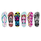 Wholesale Footwear Ladies Verbiage Printed Flip Flops