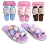 Wholesale Footwear Womens Terry Polka Dot Slippers Assorted Colors Size S-L