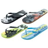 Wholesale Footwear Mans Assorted Tropical Printed Flip Flop
