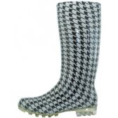Wholesale Footwear 13.5 Inches Women's Black & White Printed Rain Boots