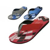 Wholesale Footwear Men's Checkered Sport Flip Flops