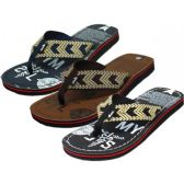 Wholesale Footwear Men's Printed Fabric Thong Sandals