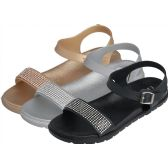 Wholesale Footwear Women's Ankle Strap Sandals with Diamonds