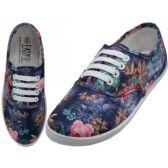 Wholesale Footwear Women's Canvas Lace Up Blue 3D Rose Print