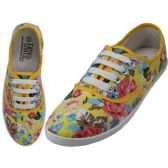 Wholesale Footwear Women's Canvas Lace Up Shoes ( *Yellow Floral Printed )