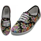 Wholesale Footwear Women's Canvas Lace Up Jet Black Floral Print