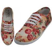 Wholesale Footwear Women's Canvas Lace Up 3D Beige Rose Print