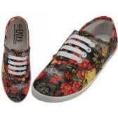 Wholesale Footwear Women's Canvas Lace Up Black 3D Rose Print