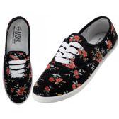 Wholesale Footwear Women's Canvas Lace Up Black Mini Rose Print