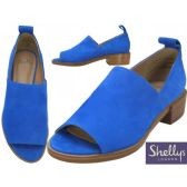 "Wholesale Footwear Women's Blue Suede Slip on Open Toe Sandals With 1 1/2"" Heel By Shellys London"