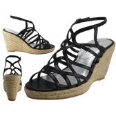 """Wholesale Footwear Women's Trappy With 3 3/4"""" Wedge Buckle Strap Sandals (black Color Only)"""