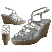 """Wholesale Footwear Women's Trappy With 3 3/4"""" Wedge Buckle Strap Sandals (Silver Color Only)"""