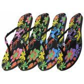 Wholesale Footwear Woman's Printed Floral Flip Flops