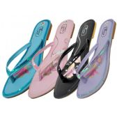 Wholesale Footwear Women's Embroidery Sequin Flip Flops ( Assorted Colors )