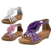 Wholesale Footwear Wholesale Girl's Wedges Silk Mesh Flower Top Sandals