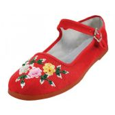 Wholesale Footwear Women's Cotton Mary Jane With Sequin (Red Color Only)
