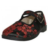 Wholesale Footwear Youth's Satin Brocade Plum Flower Upper Mary Janes Shoe ( Black Color Only)