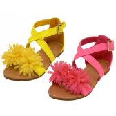 Wholesale Footwear Toddlers Silk Mesh Flower Top Cross Strap Sandals