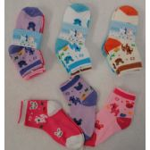 Wholesale Footwear 3pr Girl's Anklet Socks 2-4 [Deer & Bunny]