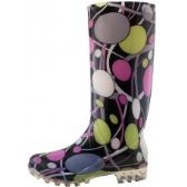 Wholesale Footwear 13 1/4 Inches Women's Wavy Line & Circular Ring Printed Rain Boots Size 5-10