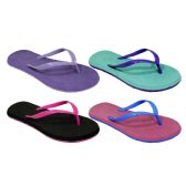 Wholesale Footwear Womans Two Tone floral Flip Flop Assorted Colors