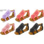 Wholesale Footwear GIRLS CANVAS GLADIATOR SANDAL WITH CHIFFON FLOWERS