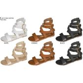 Wholesale Footwear GIRLS PU GLADIATOR SANDAL WITH TRIPLE BUCKLES AND BACK ZIPPER