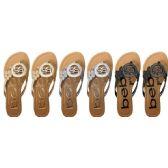 Wholesale Footwear GIRLS METALLIC MEDALLION SANDALS WITH GLITTER SIDE FLOWERS