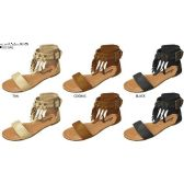 Wholesale Footwear GIRLS MICROSUEDE FRINGE SANDAL WITH ANKLE CUFF AND STUD DETAIL