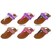 Wholesale Footwear GIRLS PU THONG SANDAL WITH BEADED UPPER