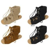 Wholesale Footwear GIRLS MICROSUEDE GLADIATOR SANDAL WITH LACE UP DETAIL