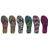 Wholesale Footwear LADIES ANIMAL PRINT NUBUCK FLIP FLOPS WITH RHINESTONE UPPER