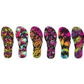 Wholesale Footwear LADIES PRINTED NUBUCK FLIP FLOPS WITH RHINESTONE UPPER