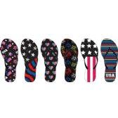 Wholesale Footwear Ladies Americana Printed Nubuck Flip Flop