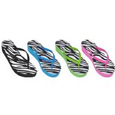 Wholesale Footwear Ladies Zebra Print Flip Flops