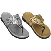Wholesale Footwear Ladies Metallic Flip Flop Sandals
