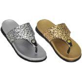 Wholesale Footwear Ladies Metallic Flip Flop Sandals
