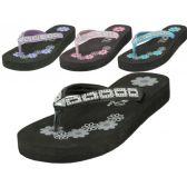 Wholesale Footwear Girl's Printed Floral Rhinestone Look Wedge Filp Flops ( *asst. Color )