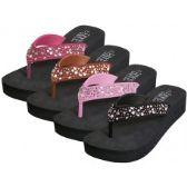 Wholesale Footwear Women's Eva Wedge Multi Color Stone Top Sandals