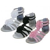 Wholesale Footwear Youth's Silk Flower Top Gladiator Sandals