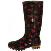 Wholesale Footwear Women's 13.5 Inches Waterproof Rubber rain Boots ( *Black With Red Floral Print )