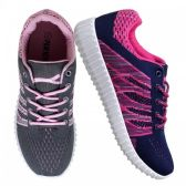 Wholesale Footwear Womens Fashion Sneakers In Gray And Pink