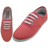 Wholesale Footwear Women's Lace Up Casual Canvas Shoes ( *Persimon Color )