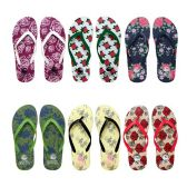 Wholesale Footwear Womens Flip Flops Assorted Rose Patterns